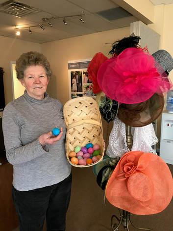 Phyllis Guilliams with Easter eggs